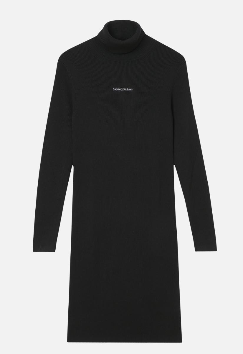 Calvin Klein Micro Branding Sweater Midi Jurk