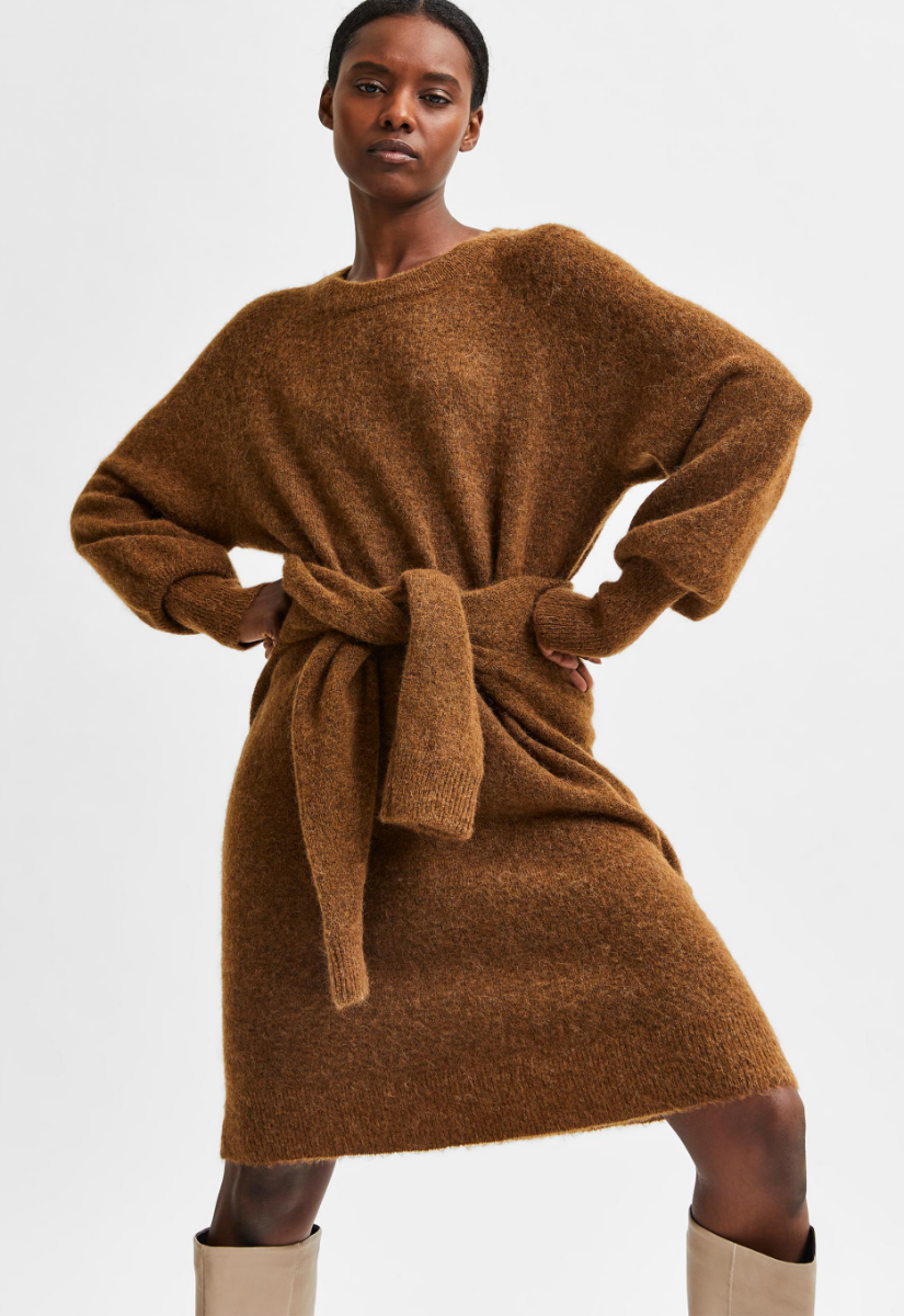 Selected Femme Lulu Knit Dress Jurk Midi