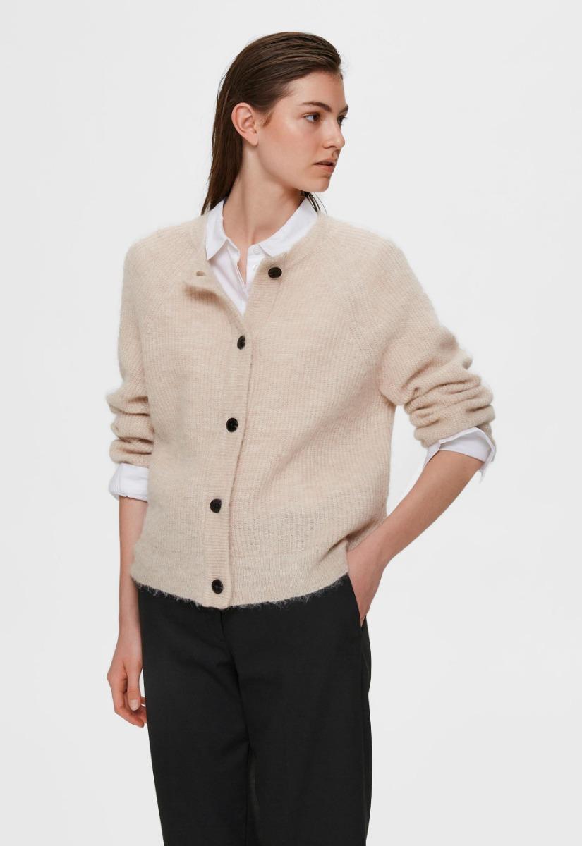 Selected Femme Lulu Knit Short Cardigan Vest