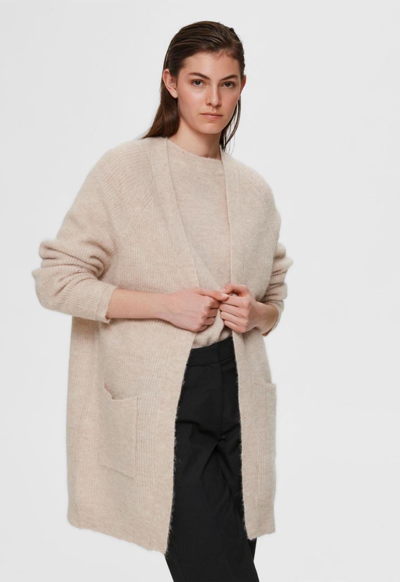 Selected Femme Lulu Knit Long Cardigan Vest