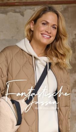 Vrouw-jas-bruin-sweater-lange
